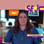 Tati Machado, repórter do Se Joga, usa look Plus Size da Predilect's Plus