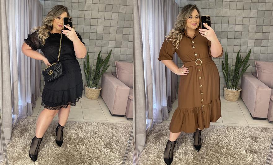 Vestidos plus size da Predilect's Plus usados por Aline Zattar