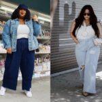duas modelos plus size usando look com calça wide leg jeans